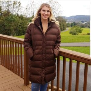 Lands End Brown Long Down Puffer Coat
